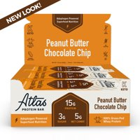 Atlas Bar, Keto Friendly & Grass Fed Whey Protein Bar, Peanut Butter Chocolate Chip, 16g Protein, 10 Bars