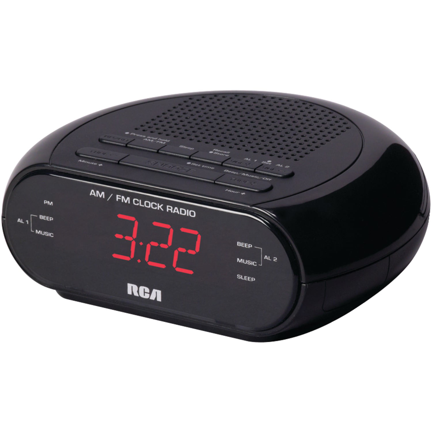 RCA RC205 Dual Alarm Clock Radio with Red LED & Dual Wake by RCA