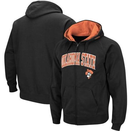 Oklahoma State Cowboys Arch & Logo Tackle Twill Full-Zip Hoodie - Black Black Tackle Twill Hoody Sweatshirt