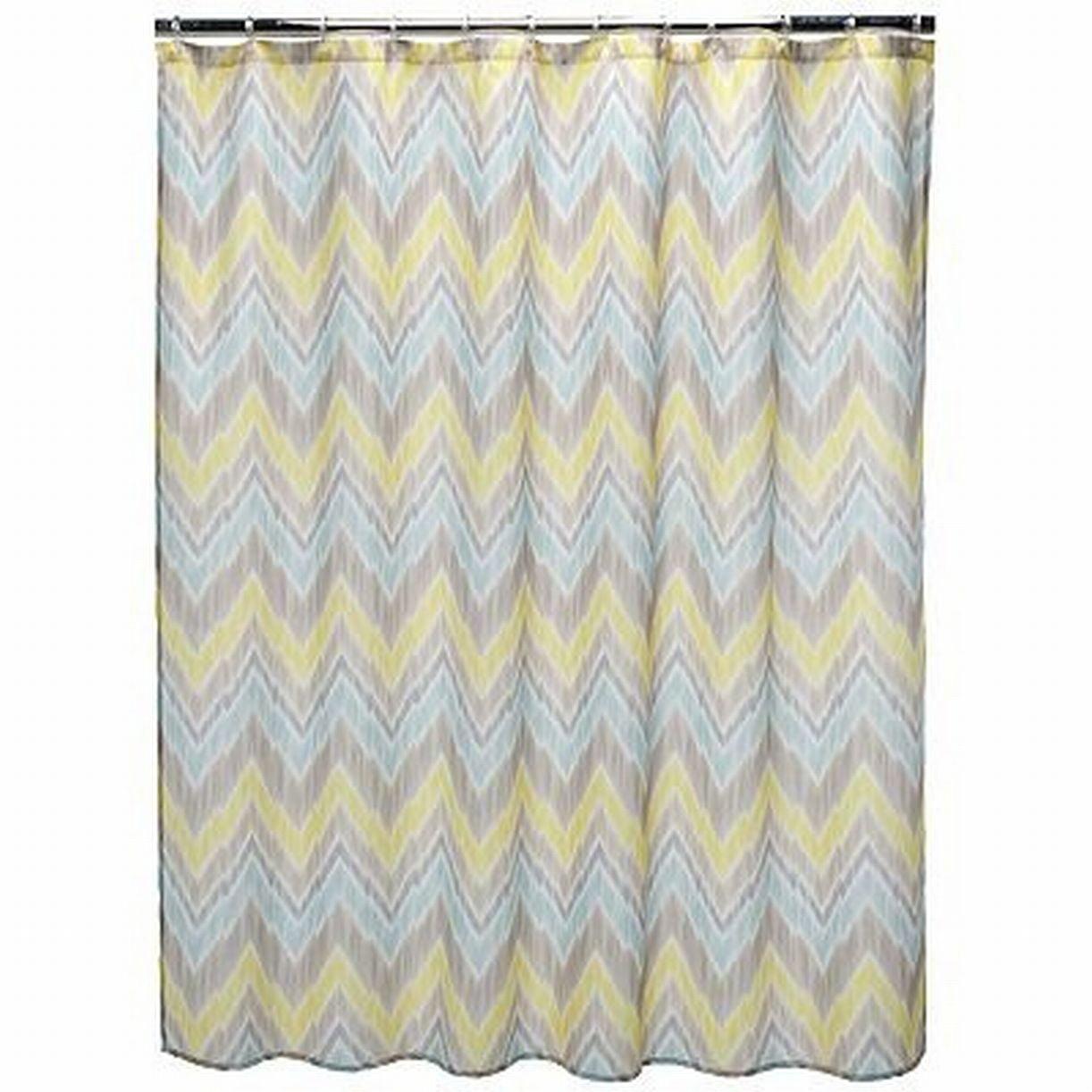 Home Classics Tribal Finds Fabric Shower Curtain Yellow Blue Chevron Bath Decor
