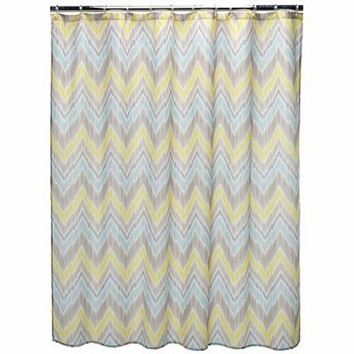 Home Classics Tribal Finds Fabric Shower Curtain Yellow Blue Chevron Bath Decor