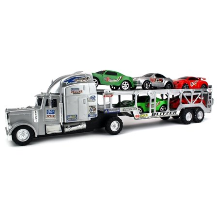 Blitzer Race Trailer Children's Kid's Friction Toy Truck Ready To Run w/ 5 Toy Cars, No Batteries Required (Colors May Vary) - Cars Toy