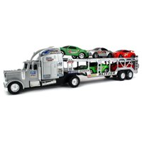 Blitzer Race Trailer Children's Kid's Friction Toy Truck Ready To Run w/ 5 Toy Cars, No Batteries Required (Colors May Vary)