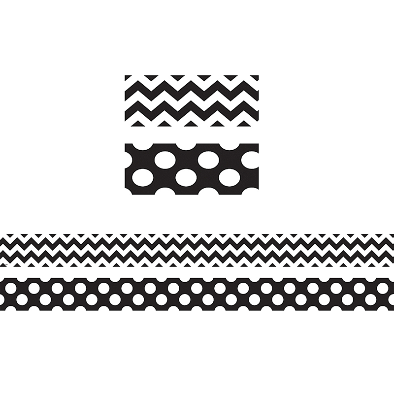 BLACK & WHITE ZIG ZAG DOUBLE SIDED BORDER