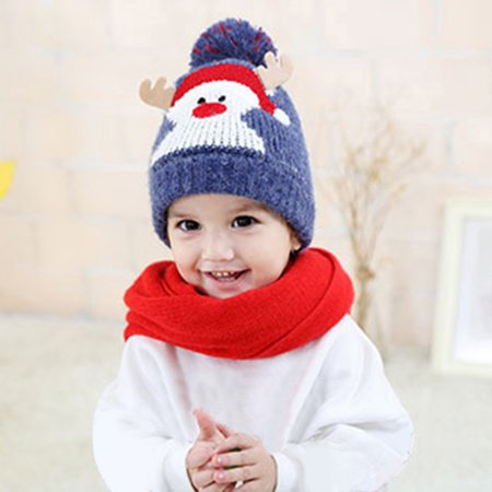 Cotton Ball Cap - Baby Kids Beanie For Boys Girls Cap Cotton Knitted Ball Warm Christmas Hats