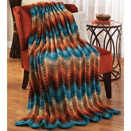 Herrschners Sunset Drama Knit Afghan Kit
