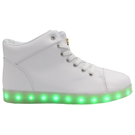 Galaxy LED Shoes Light Up USB Charging High Top Lace Women's Sneakers (White)