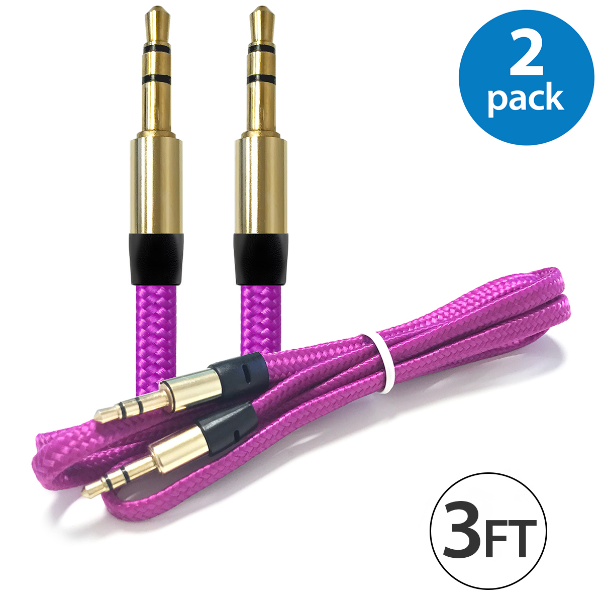 2x Afflux 3.5mm AUX AUXILIARY Cable Male Male Stereo Audio Cord For Android Samsung iPhone iPad iPod PC Computer Laptop Tablet Speaker Home Car System Handheld Game Headset High Quality Hot Pink