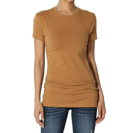 Women's & Juniors Basic Round Crew Neck Short Sleeve Stretch Cotton Spandex T-Shirts