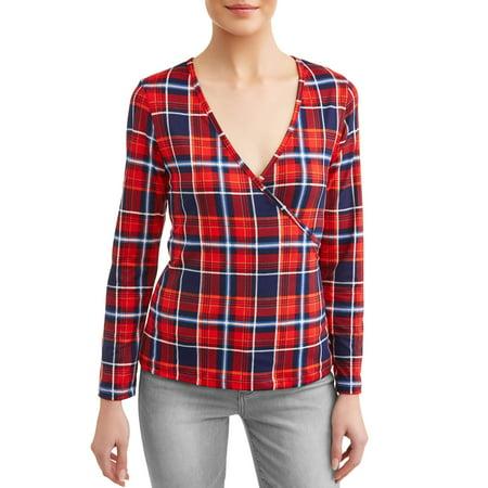 Women's Stretch Wrap Top Broadcloth Womens Dress Shirt