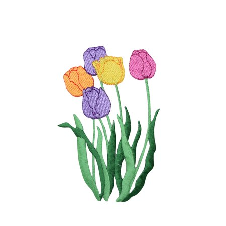 Five Tulips Purple, Orange, Yellow, Pink Iron on Embroidered Patch