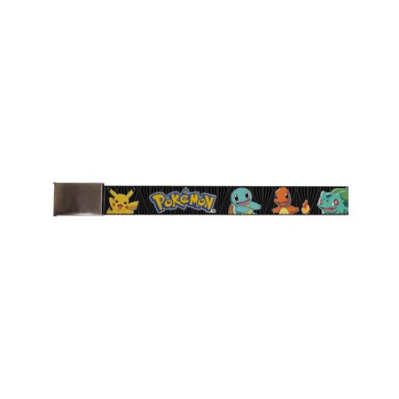 buckle-down big web belt pokemon, pokemon/kanto starter pokemon and pikachu zebra black/gray, 1.0
