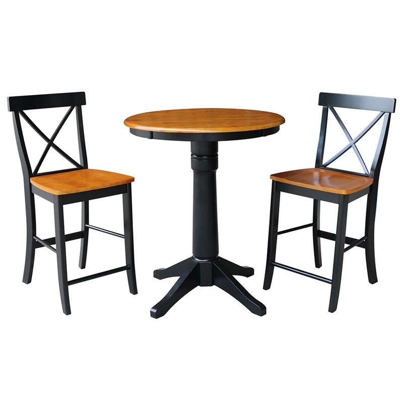 "30"" Round Pedestal Gathering Height Table With 2 X-Back Counter Height Stools - 3 Piece Set - Black/Cherry"