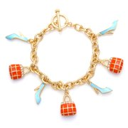 TAZZA WOMEN'S GOLD CRYSTAL CORAL AND TURQUOISE CHARMS  BRACELETS