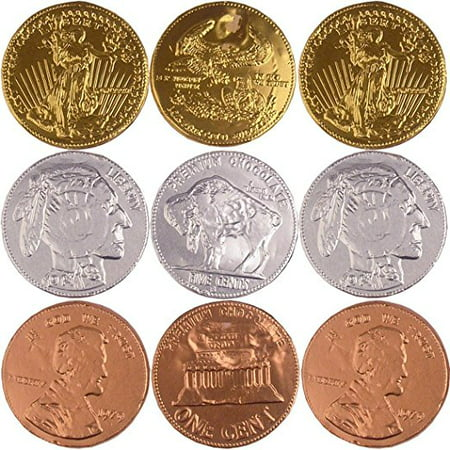 Extra Large Metallic Foiled Milk Chocolate Coins Assorted - 1 Pound Gold, Silver & Copper - Coin Chocolate