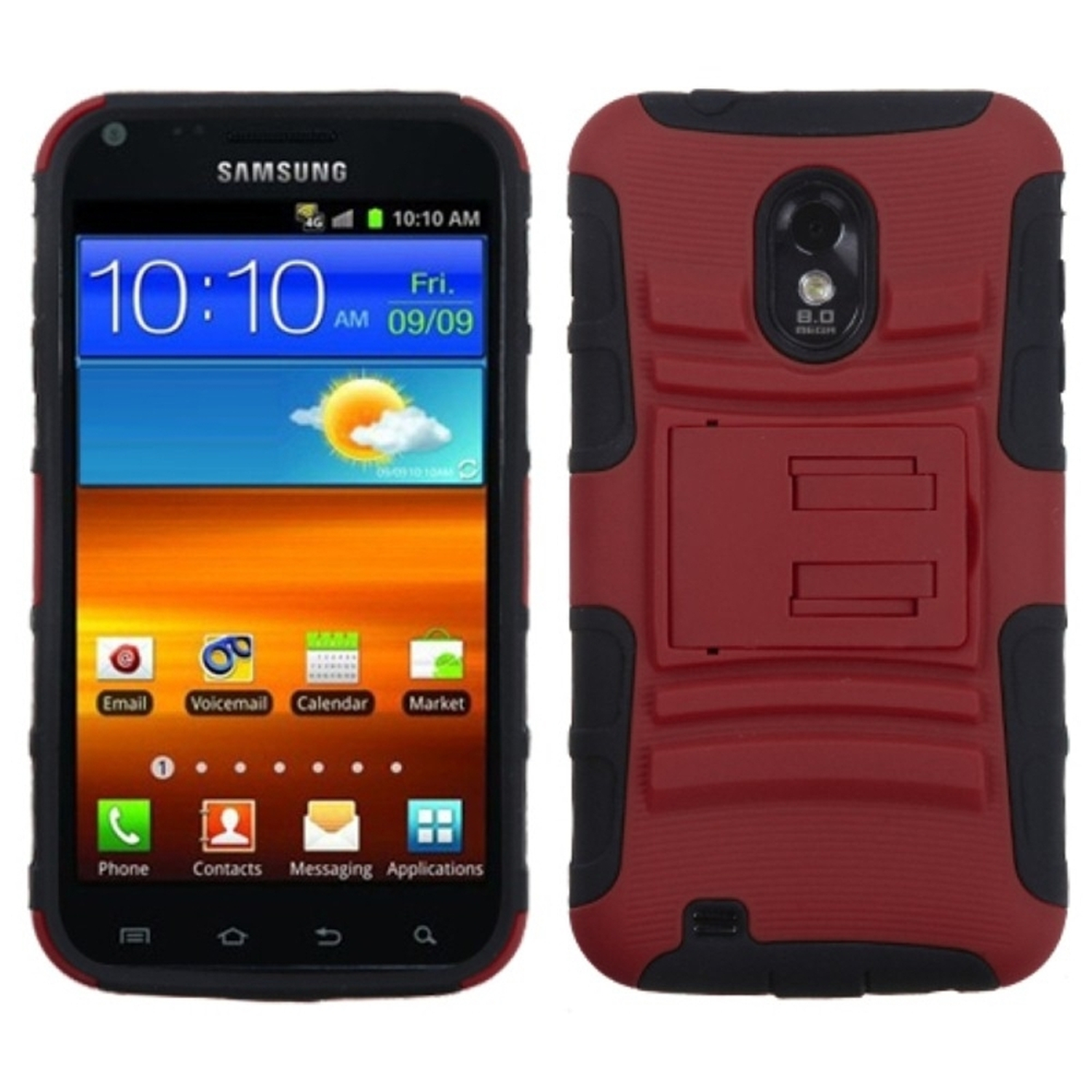 Insten Red/Black Advanced Armor Stand Case for SAMSUNG: D710 (Epic 4G Touch), R760 (Galaxy S II), Galaxy S II 4G