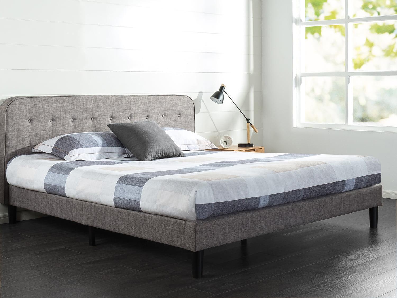 Zinus Melodey Upholstered Curved Platform Bed Multiple
