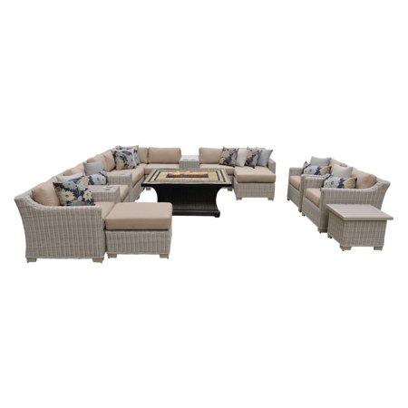 Agio Patio Furniture - TK Classics Coast 17 Piece Wicker Patio Furniture Set with Agio Laguna Fire Pit Table