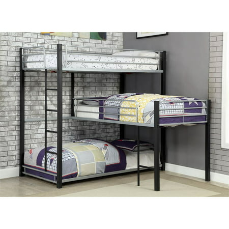 Furniture of America Turner Modern Triple Twin Bunk Bed in Sand