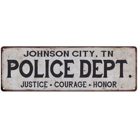 JOHNSON CITY, TN POLICE DEPT. Home Decor Metal Sign Gift 6x18 106180012535