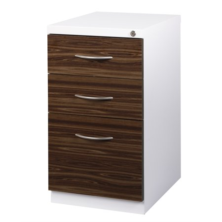 Hirsh 3 Drawer Wood Front Mobile Pedestal Filing Cabinet in White