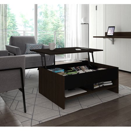 Bestar Small E 37 Inch Lift Top Storage Coffee Table In Dark Chocolate And Black