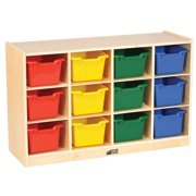 Birch 12 Cubby Tray Cabinet with Assorted Bins