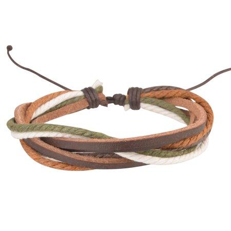 2 Pack Zodaca Genuine Leather Handmade Bracelet Braided Wristband Womens Mens Ladies Unisex One Size Adjustable Green/Brown 2 Pack Team Wristband