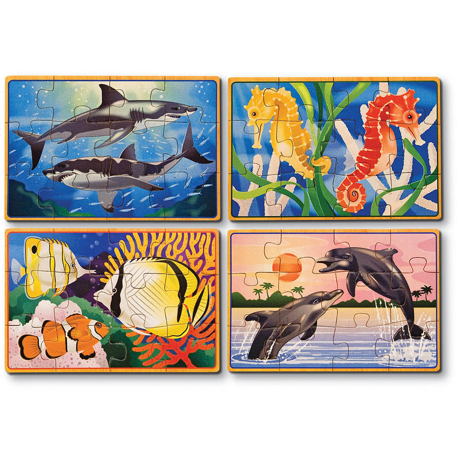 Melissa & Doug Sea Life 4-in-1 Wooden Jigsaw Puzzles in a Storage Box by Generic
