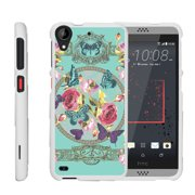 HTC Desire 530 | Desire 630, [SNAP SHELL][White] Hard White Plastic Case with Non Slip Matte Coating with Custom Designs - Royal Flowers and Butterfly