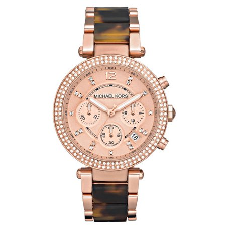 Michael Kors Women's Parker Chronograph Tortoise Rose Gold Watch MK5538 (Rose Gold Michael Kor Watch)