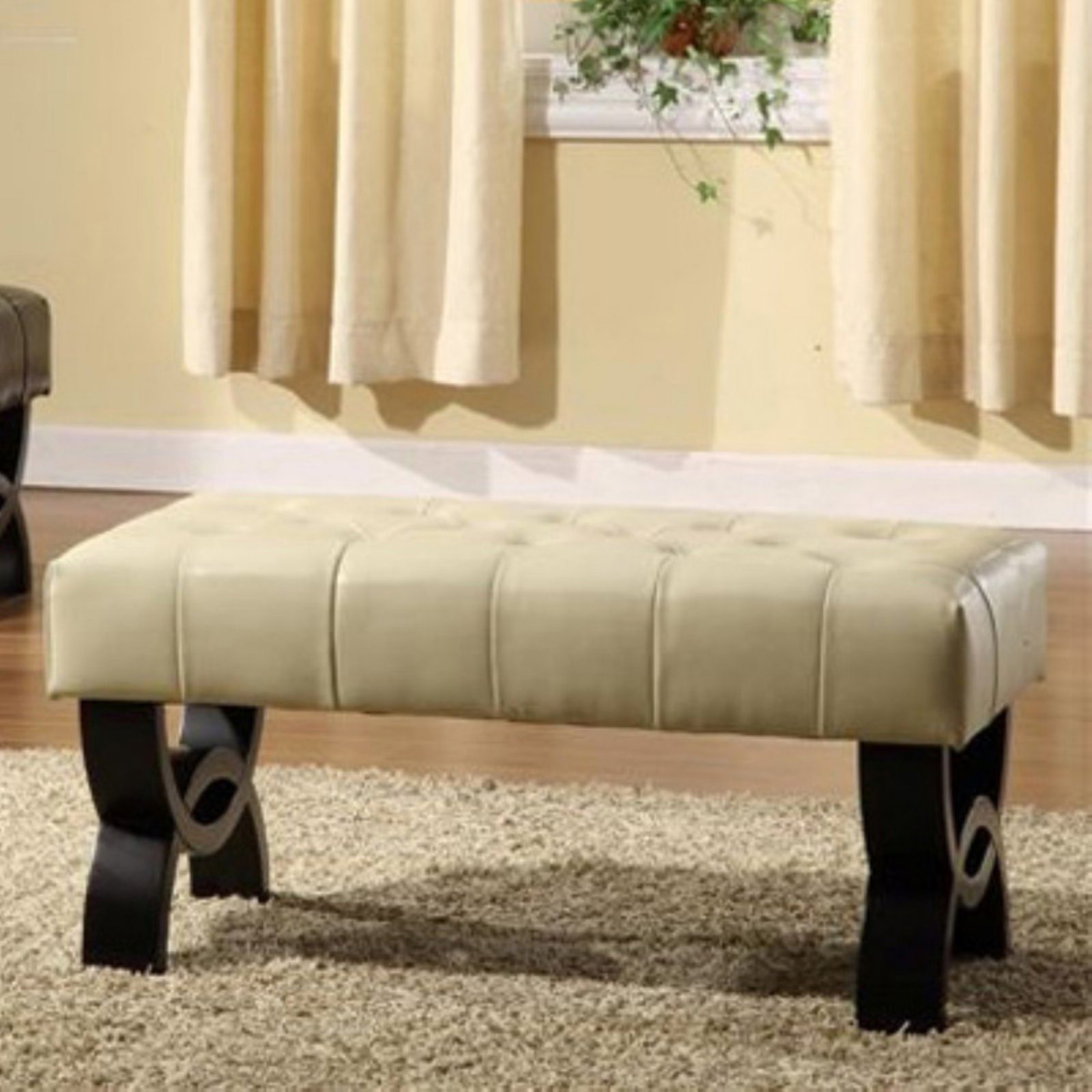 "Central Park 36"" Tufted Leather Ottoman, Multiple Colors"