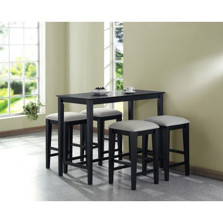 Modern Style Black Grain 24 X 48 Counter Height Kitchen Table Furniture