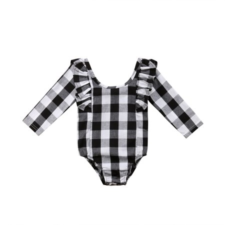 Newborn Baby Girl Long Sleeve White and Black Plaid Rompers Ruffle Bodysuit Jumpsuit](Plaid Onesie)