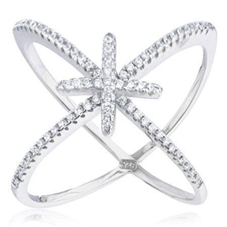Sterling Center (Ladies Real 925 Sterling Silver 'X' Ring with Center Cross & Cubic Zirconia Stones (7))