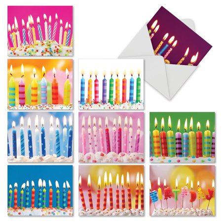 M6555BDG M6555BDG Birthday Candles' 10 Assorted Birthday Notecards Featuring Bright and Happy Close Up Images of Lit Candles on Birthday Cakes with Envelopes by The Best Card