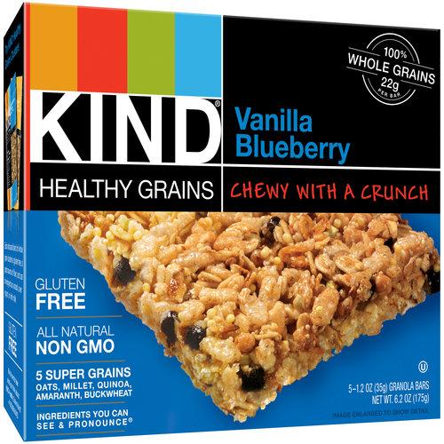 KIND Healthy Grains Vanilla Blueberry Granola Bars, 1.2 oz, 5 count