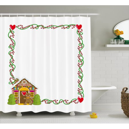 Kids Christmas Shower Curtain Frame Featuring Sweet Candy Canes Hearts And A Gingerbread Cookie House