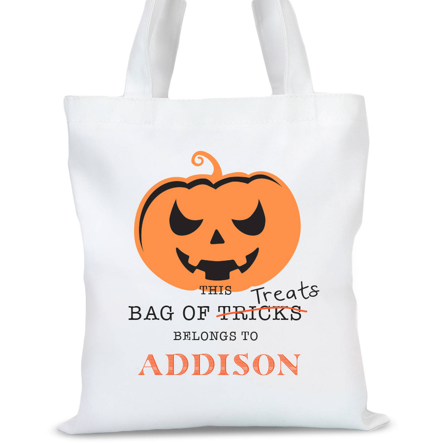 "Personalized Spooky Pumpkin Halloween Tote Bag, Sizes 11"" x 11.75"" and 15"" x 16.25"""