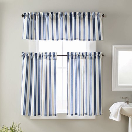 Stripe Valance (Better Homes and Gardens Beach Stripe 3pc Tiers & Valance)