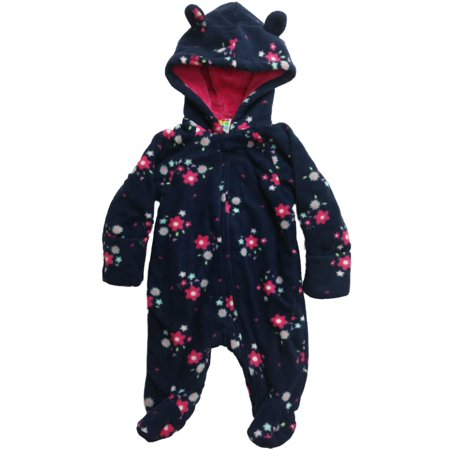 Infant Girls Plush Navy Blue & Pink Floral Flower Pram Suit Hooded Baby Bunting - Baby Bunting Suit