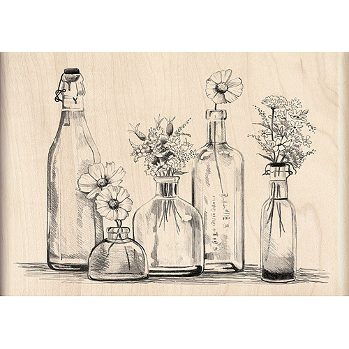 "Inkadinkado Mounted Rubber Stamp, Bottle Row 3.5"" x 5"""