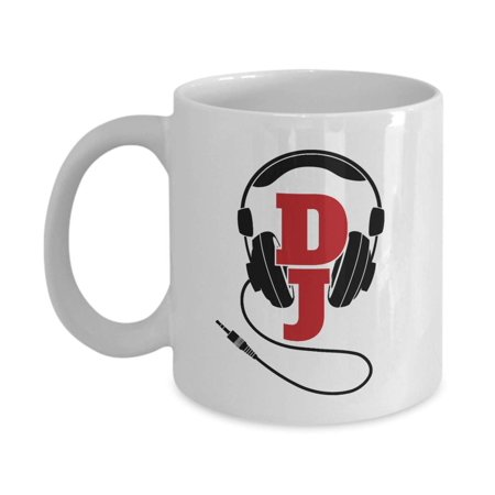 - Black DJ Style Wired Music Headphones Or Headset Print Coffee & Tea Gift Mug, Stuff, Decorations, Accessories And Cool Gifts For A Radio Disc Jockey, Turntablist, Bass DJ And Men & Women Studio DJs