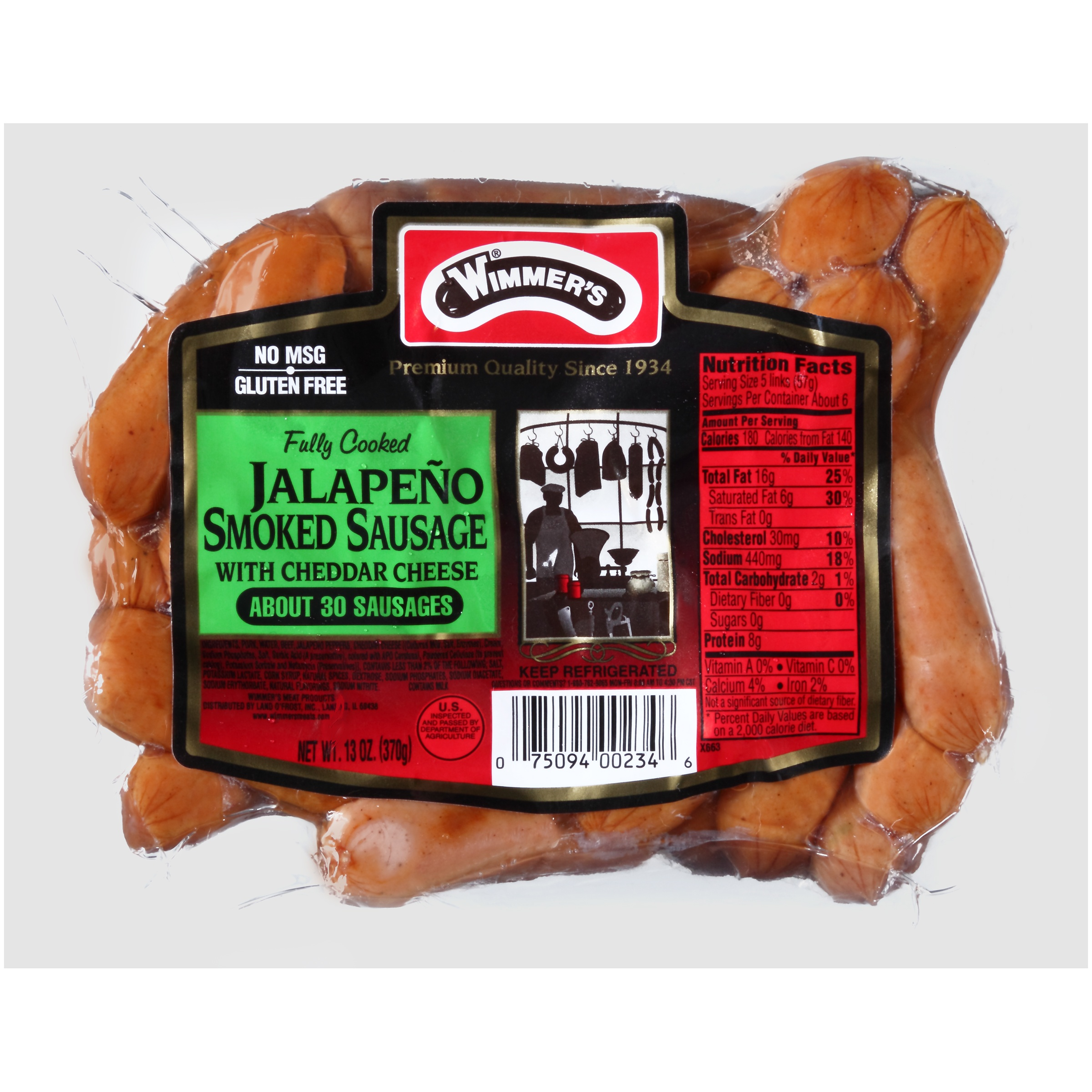 Wimmer's® Jalapeño Smoked Sausage with Cheddar Cheese 13 oz. Pack