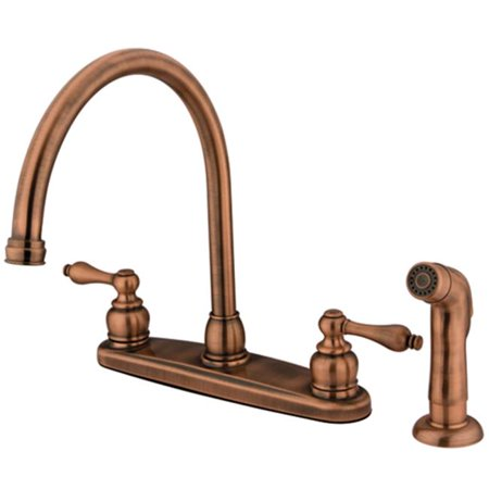 Kingston Brass KB726ALSP Double Handle Goose Neck Kitchen Faucet with Non-Metallic Sprayer - image 1 of 1
