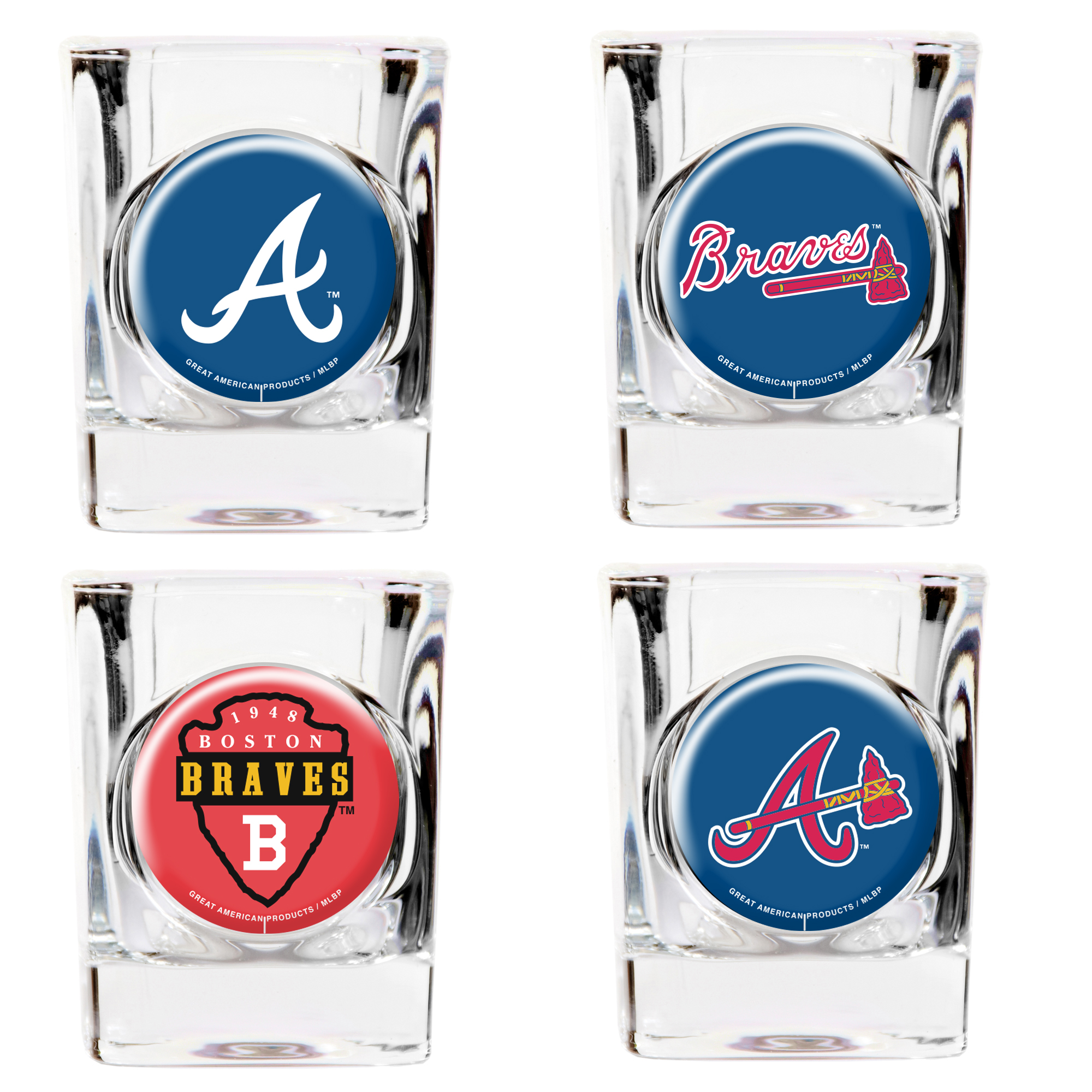 Atlanta Braves 4-Piece 2oz. Square Shot Glass Set - No Size
