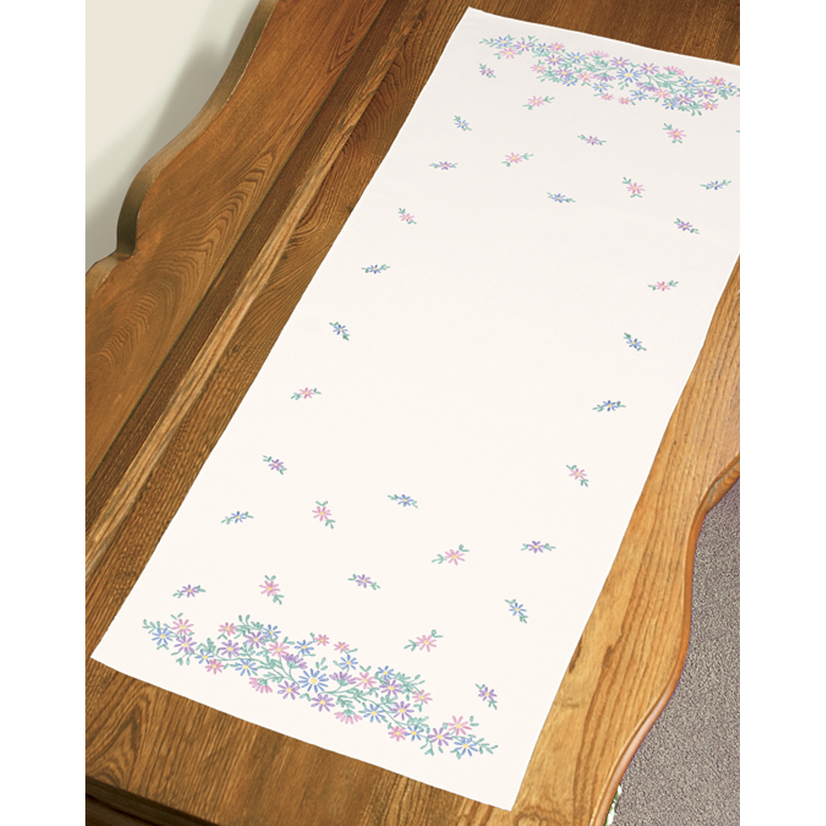 "Dimensions Wildflowers Dresser Scarf Stamped Embroidery, 14"" x 39"""