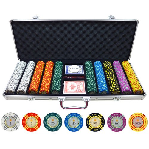 JP Commerce 500 Piece Crown Casino Clay Poker Chips Set by JP Commerce