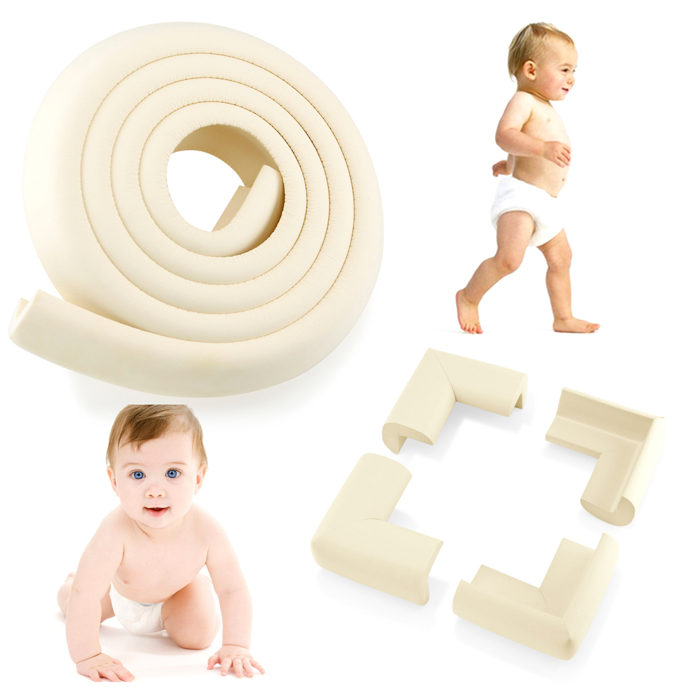 4Pcs Child Baby Proofing Kids Safety Kit - Corner Edge Protectors + Table Soft Cover Protector Cushion Guard