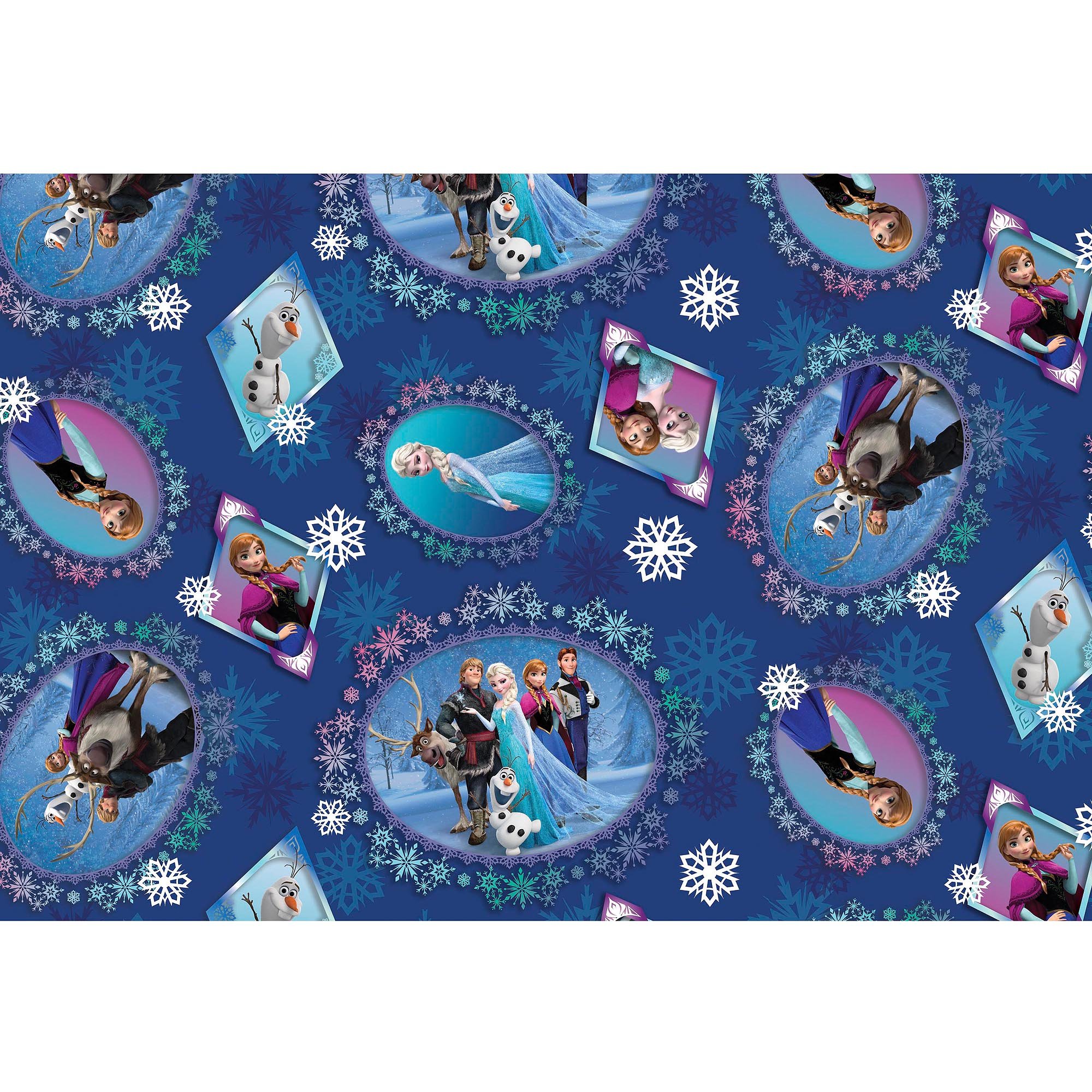Disney Frozen Scenic Patch Digital Fabric by the Yard, Blue